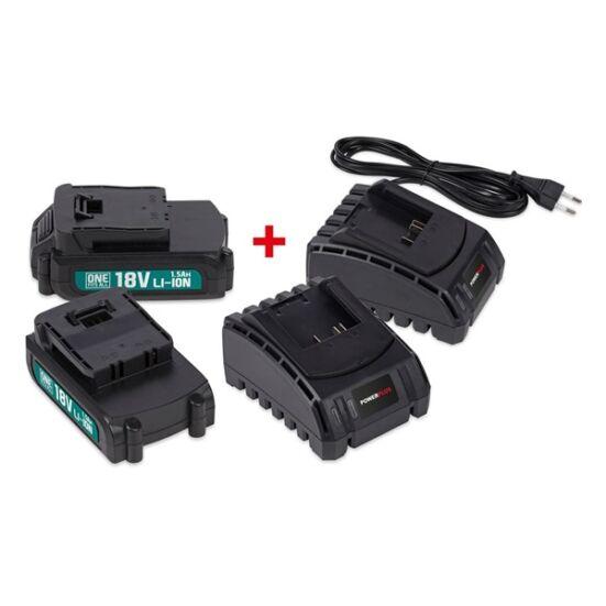 PowerPlus 2x18V 1,5Ah akkumulátor+ 2xtöltő POWEB9090